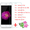 glass on the for iphone 5s HD clear screen protective glass 9H hardness tempered glass film for iphone 4s/5s/6s/6plus/7/7plus