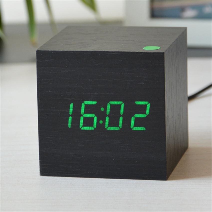 Multi-function Retro Fashion vintage Digital LED Bamboo&Wooden Sound Control Alarm Clock child bedside alarm clock despertador