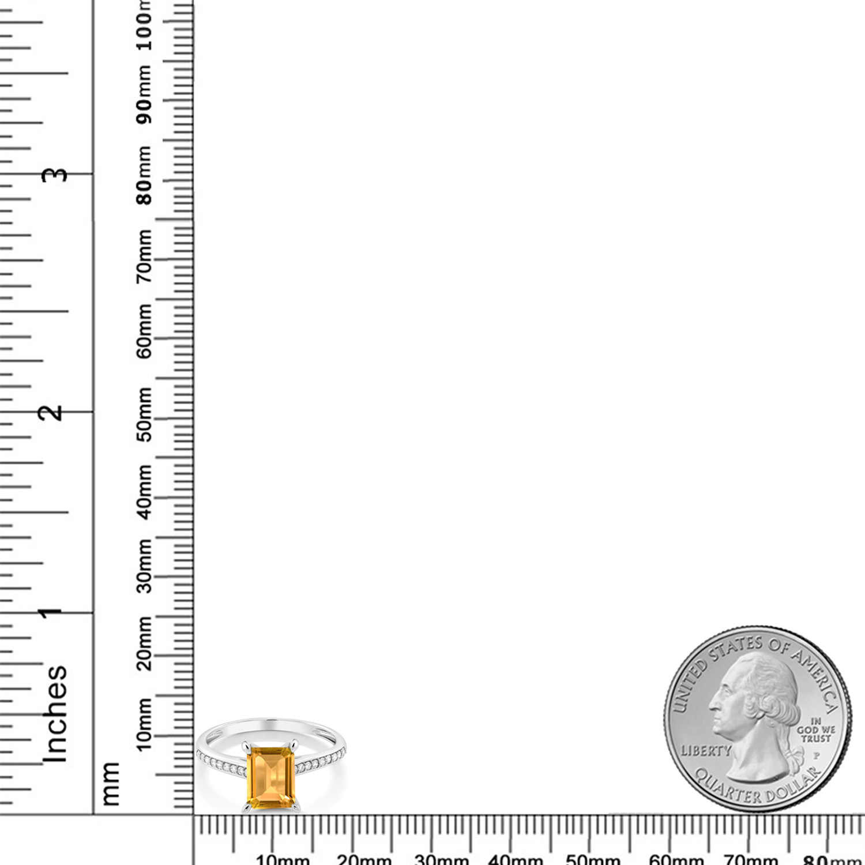 GemStoneKing ทองคำขาว 10K 1.63 กะรัตมรกตตัดสีเหลือง Citrine สีขาวแหวนหมั้นเพชร