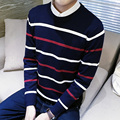 winter New Fashion Sweaters Men Slim Casual Pullovers Stripe Stitching Men Warm Sweaters 5z