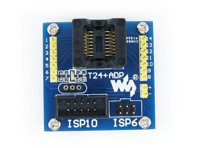 module T24+ ADP ATtiny24 ATtiny44 ATtiny84 SOIC14 (150 mil) AVR Programming Adapter Test Burn-in Socket + Freeshipping m48 adp atmega48 atmega88 atmega168 tqfp32 avr programming adapter test socket