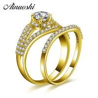 AINUOSHI 14K Solid Yellow Gold Rings Set 0.5ct Round Cut Prong Setting Bridal Set Luxurious Wedding Band Women Halo Rings Set
