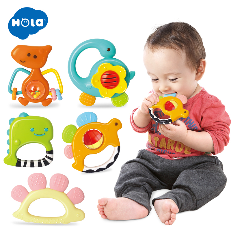 HOLA 1109 Baby Rattles Toys Newborn Hand Bells Baby Toys 0-12 Months Teething Safe Development Infant Early Educational
