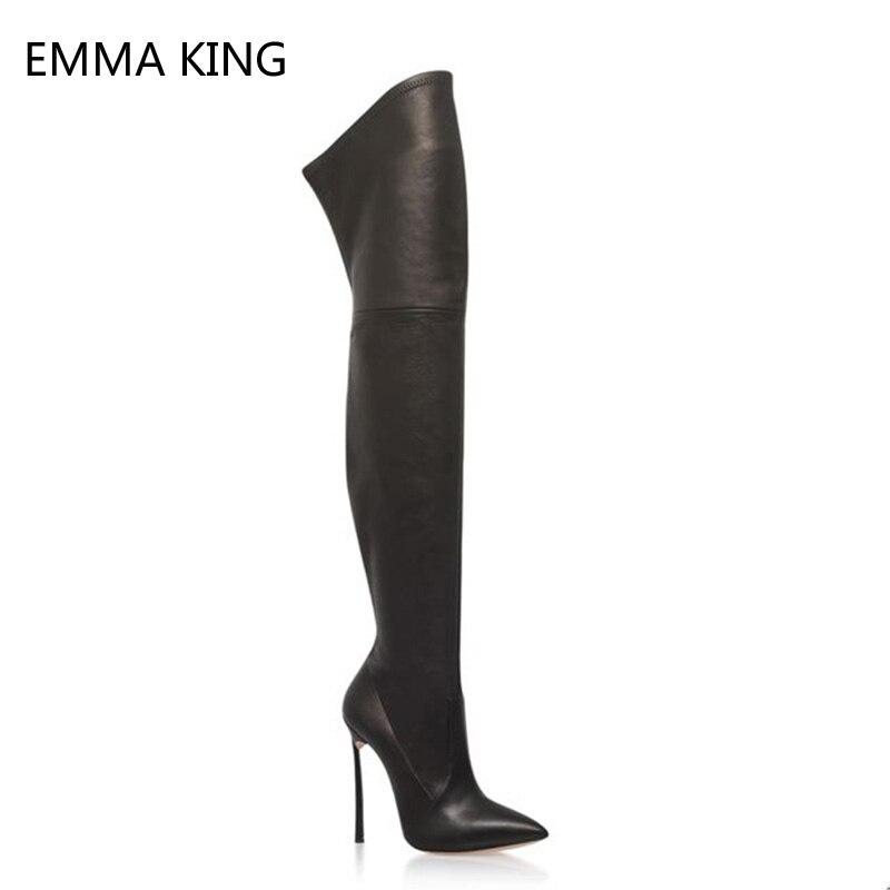 High Die Frauen Über Stiefel Sexy Schwarz Leder 12 Cm Heels Schuhe Spitze Picture Lange As Zehen Knie Kniehohe Damen Stretch Stiletto ZtawYqraF