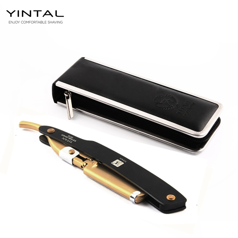 YINTAL Men Shaving Straight Razor Blade Replaceable Manual Metal Handle Classic Barber Razors Blade Holder Clipper 5Blades 1Case retro aluminum straight edge shaving barber razor cut throat knife wood box set