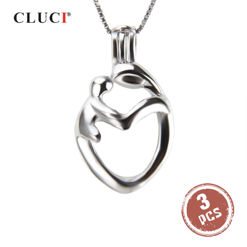 CLUCI 3pcs 925 Sterling Silver Mother And Son Love Cage Pendant For Women Pearl Locket Charms Pendant For Mother's Day Gifts