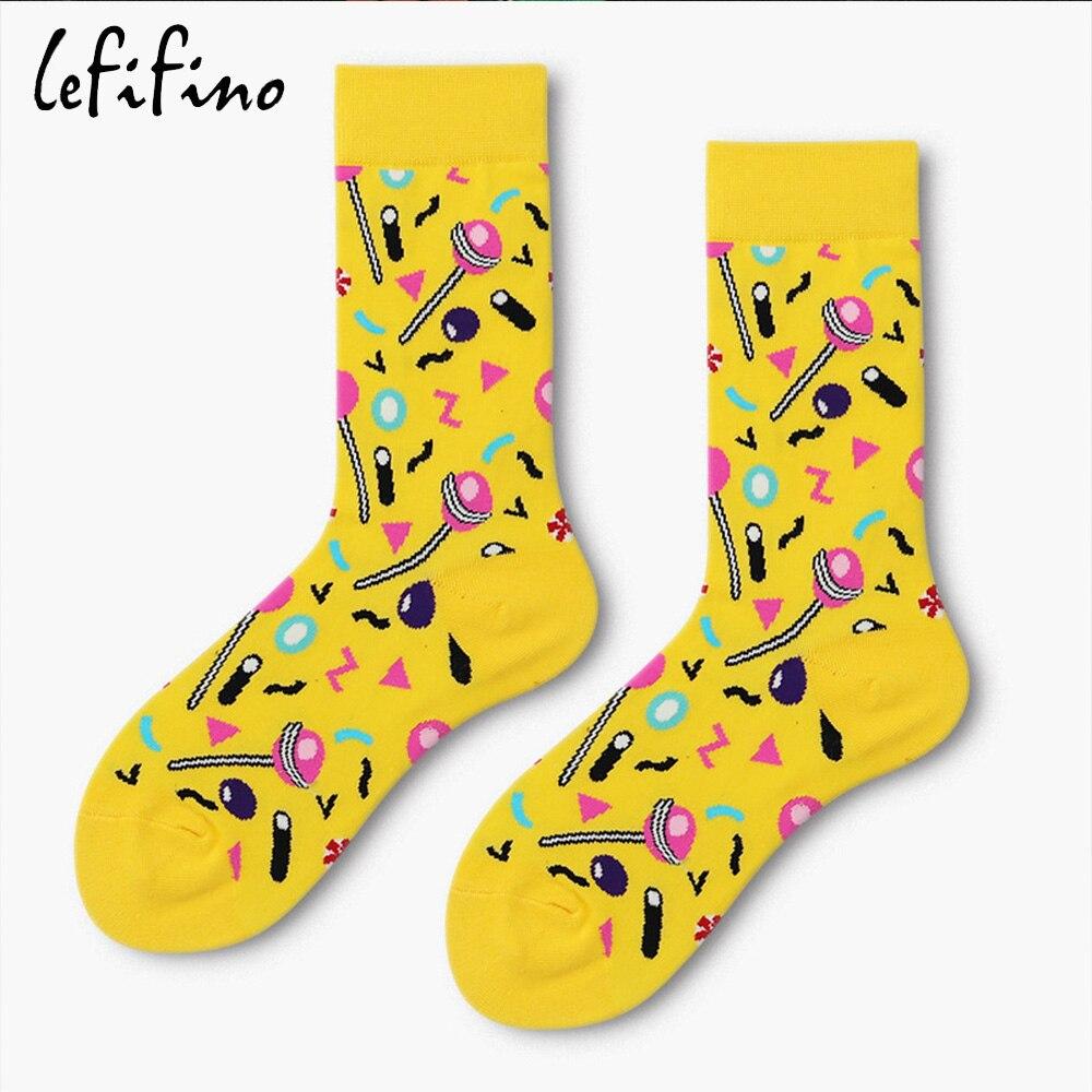 c3129a558221 Yellow Lollipop Candy Happy Men Crew Socks Funny Harajuku Long Creative  Skateboard Wedding Socks Novelty Dress Male Sox Ne76730-in Men's Socks from  ...