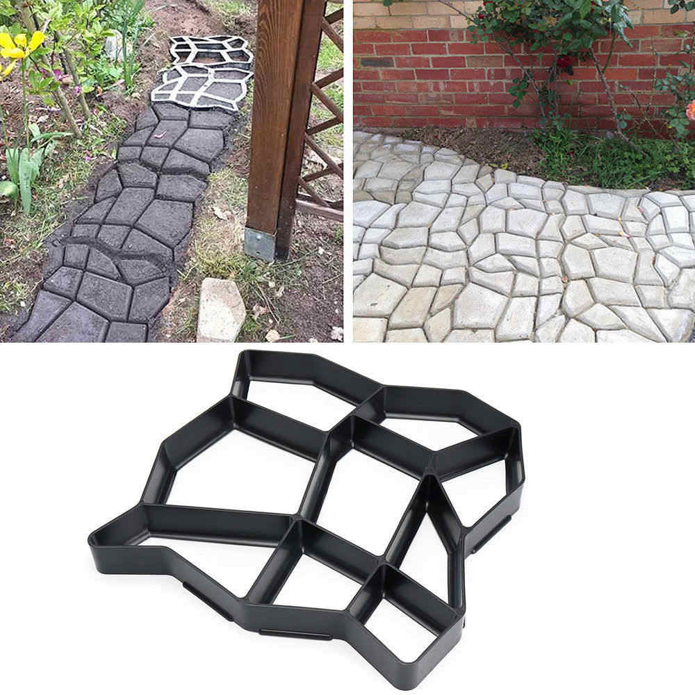 DIY Paving Floor Tile Cement Mould Path Maker Middle Of Hole SHape Garden Path Concrete Plastic Brick Mold Paving