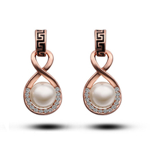 Brand Exotic Retro Pearl Earrings Rose Gold Plate SWA Element Austrian Crystal Stud Earring