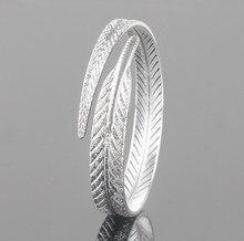 ANENJERY 925 Sterling Silber Einzigartige Frauen Blatt Armbänder Öffnen Manschette Armbänder & Armreifen Schmuck pulseras S-B13