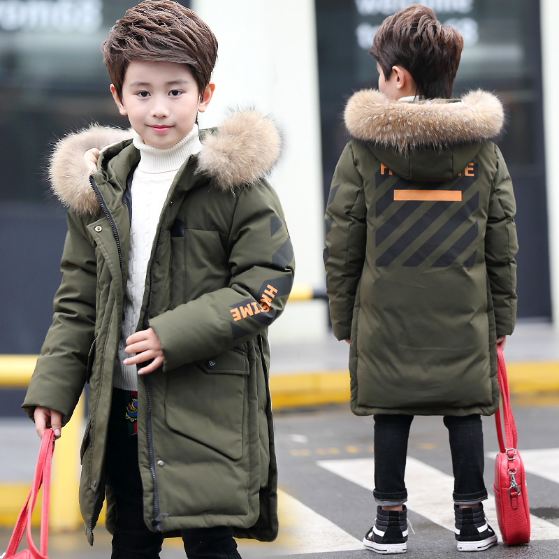Kids Fur Hooded Coat Boy Winter Down Jackets size 8 10 12 14 15 years Thicken Warmly Parkas for Boy цена