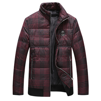 Men's Parka Jacket Fashion New Winter Spring Plaid Stand Collar Parkas Male Warm Windproof Zipper Outwear Jackets Plus Size 4XL