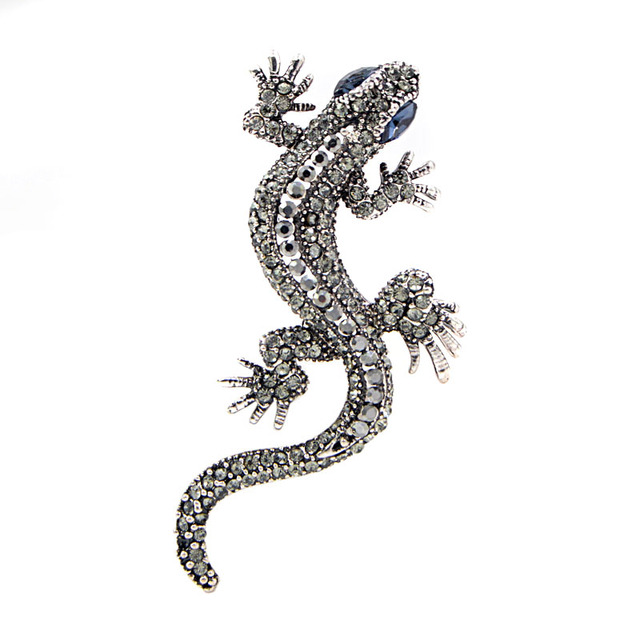 CINDY XIANG 2 Colors Available Rhinestone Lizard Brooches Vintage Animal Brooch Pin Full Rhinestone Inlay Suit Accessories Gift 3