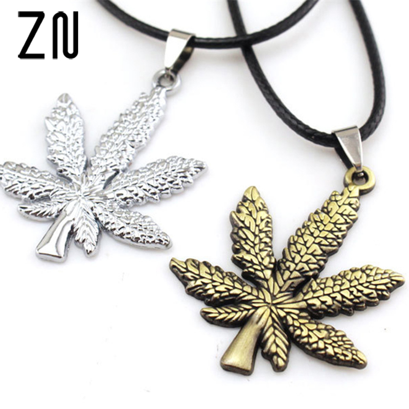 ZN New Gold Silver Plated <font><b>Cannabiss</b></font> Small Weed Herb Charm Necklace Maple Leaf Pendant Necklace Hip Hop Jewelry Wholesale image