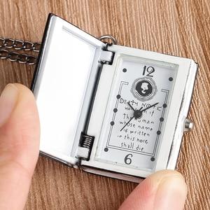 Hot Japanese Death Note Shape Black Suqare Quartz Fob Pocket Watch For Men Woman Children Drop Shipping Wholesale