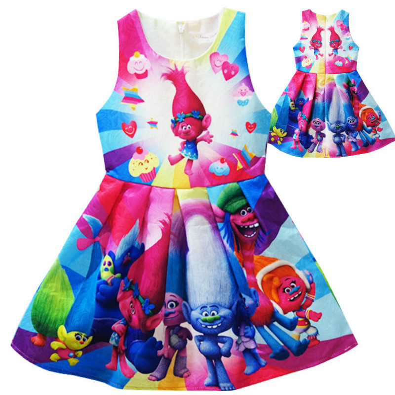 0774447c7f6 Κορίτσια ' ρούχα Trolls Cartoon Clothes Kids Dresses Summer Sleeveless  Dress for Girls Wedding Evening Party Trolls Costumes Children Clothing