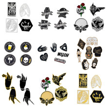4-7pcs Brooch set Punk Dark Witch Devil Skull Magic Ball Bee Bat Enamel Pin Denim Shirt Lapel Pin Badge Gothic Jewelry(China)