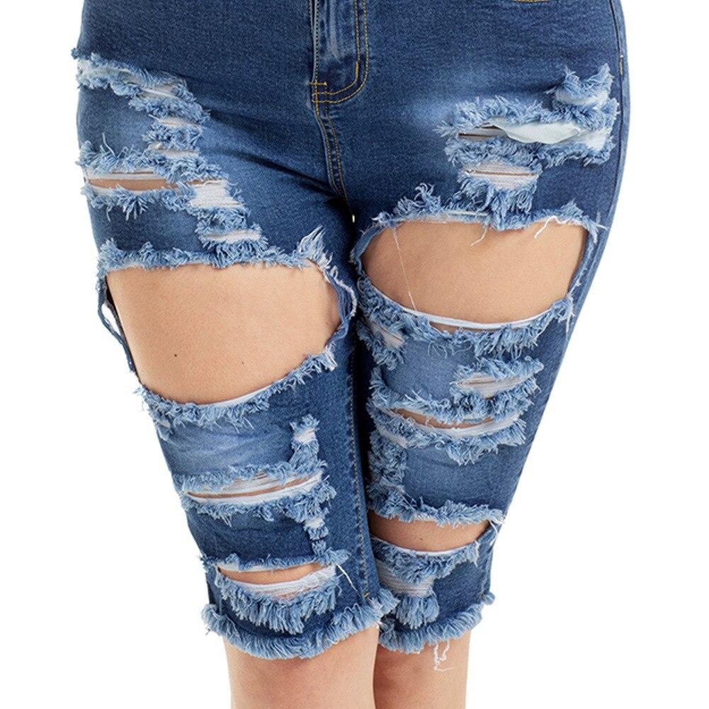 neue Hohe Taille Zerrissenen Jeans Frauen Zerrissene Loch Jean Femme Sexy  Party Club Jeggings Plus Größe Jeans Halbe Länge hosen e028c9fad0