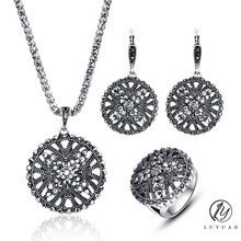 Vintage Hollow Out Crystal Flower Pendant Necklace Earrings And Ring Sets Women Antique Silver Color Ethnic 3Pcs Jewelry Set 20%