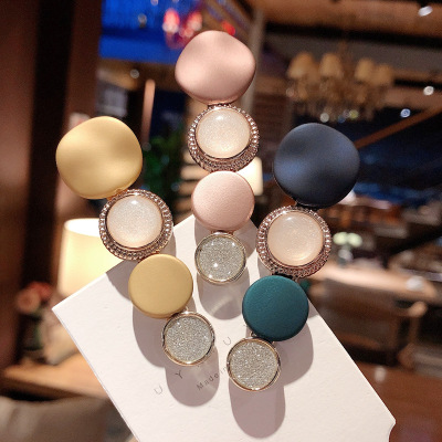 Korea  Circle Acrylic Geometric Hair Clips For Girls Alloy Accessories Crystal Hairpins Barrette Colorful Hairgrips