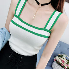 23 Styles Choice--Halter Tank Top Women Summer T shirt Crop Top Knitted Buttons Stretchy Color Block Sexy Vest T shirt Patchwork color block single pocket t shirt