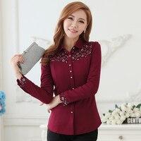 Thick Velvet Blusas Winter Lace Patchwork Long Sleeved Women S Office Shirt Blouses Feminina Chemise Femme