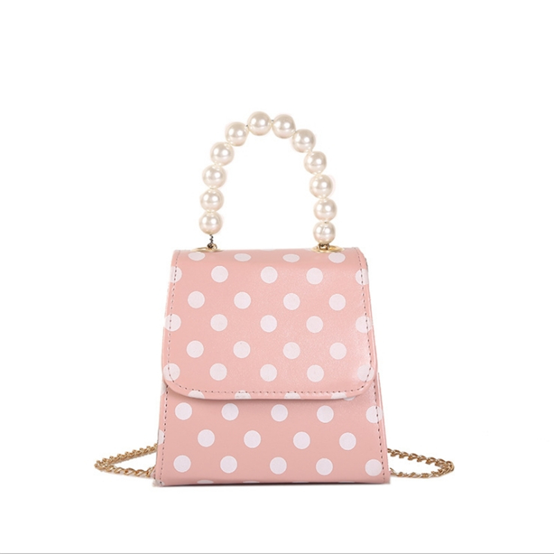 Tote-Bags Polka-Dot Handbags Package Pearl-Chain Square Small Women Crossbody for Pouch
