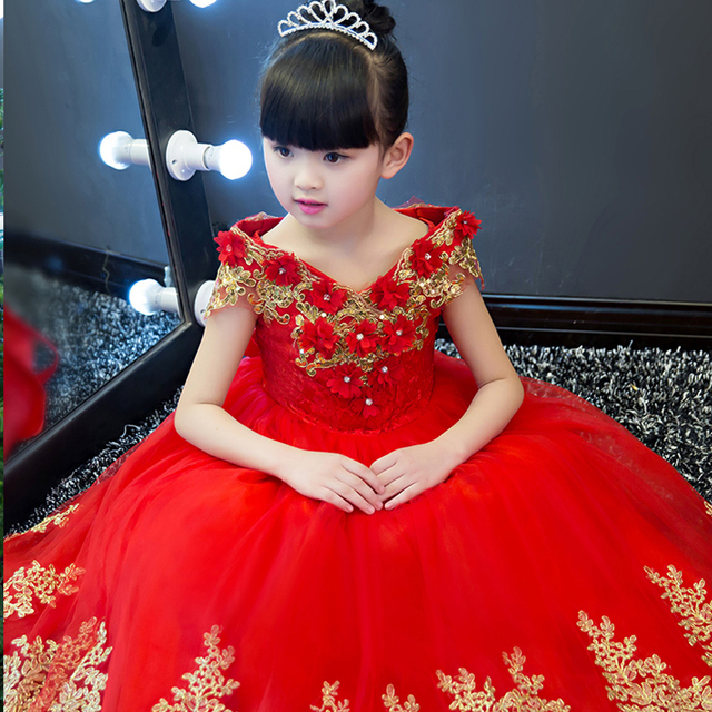 e776ec90fcbe1 US $59.84 5% OFF|Kid Luxury Flower girl wedding dress princess ball gown  evening party dresses beautiful birthday gift tutu clothes prom red YY65-in  ...
