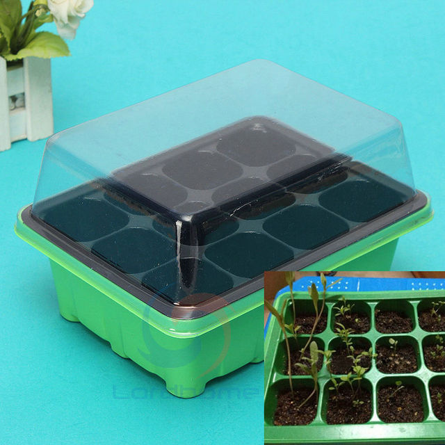 12 Cells Hole Plant Seed Tray Plastic Nursery Tray With Lids Garden Tools  Greenhouse Kit