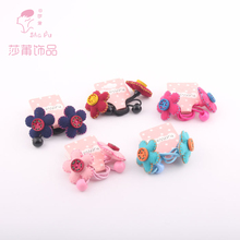 Children handmade flower plush stretch for dovetail rubber bands hair accessories for girls baby scrunchies kids headwear