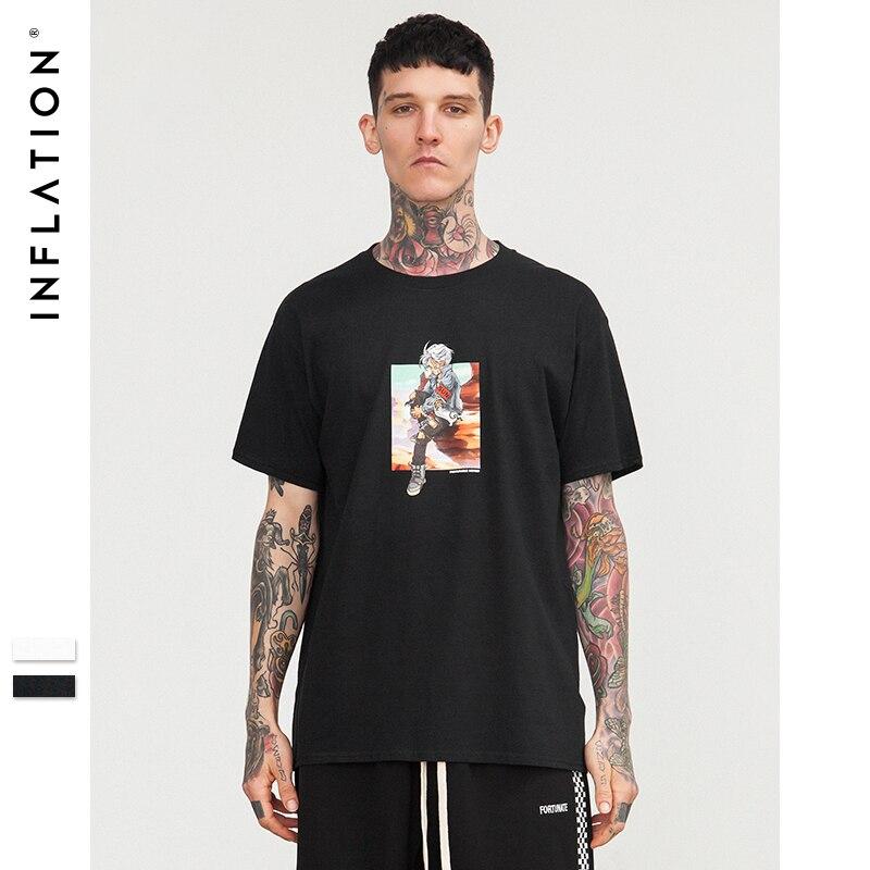 INFLATION 2018 SS colección Top Tees hombres 100% algodón marca hombres camiseta Casual camiseta o-cuello Hip Hop 8221 S