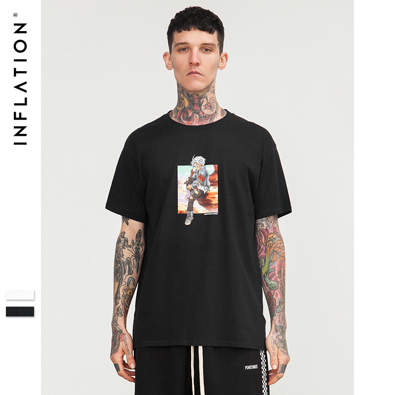 L'INFLATION 2018 SS Collection Top T-shirts Hommes 100% Coton Marque t-shirt Hommes Occasionnels t-shirt O-cou Hip Hop T chemise 8221 s