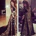 Кружева аппликация платье-линии v-шея длинный рукав черный и золото арабский кафтан вечерние платья абая в дубае