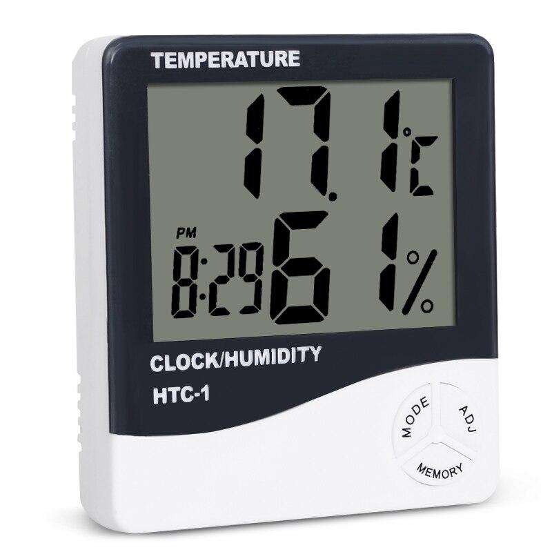 HTC-1 комнатный ЖК-цифровой электронный термометр гигрометр Измеритель температуры и влажности Будильник Метеостанция