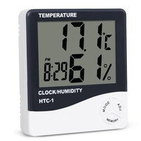HTC-1 실내 방 lcd 디지털 전자 온도계 습도계 온도 습도 측정기 알람 시계 기상 관측소