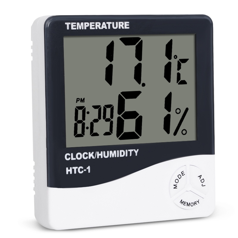 HTC-1 Indoor Room LCD Digital Electronic Thermometer Hygrometer Measuring Temperature Humidity Meter Alarm Clock Weather Station china oem firehawk electric guitar schecter pure white guitar color can be changed the logo can be customized
