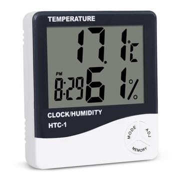 HTC-1 kryty pokój LCD cyfrowy termometr elektroniczny higrometr pomiar miernik temperatury i wilgotności budzik stacja pogodowa tanie i dobre opinie DIGITAL Elektryczne SINOTIMER -10C ~ +70C 10-99 RH Table Desk-top or Wall Hanging Indoor Thermo-hygrometer Display Temperature Humidity Clock