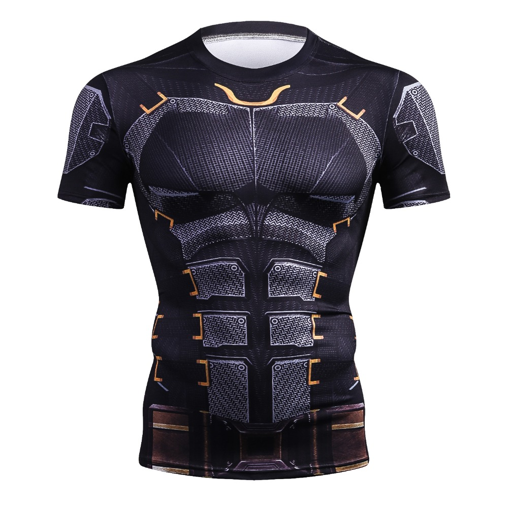 Upgraded Version Iron Batman Superman 3D Printed T-shirts Men Compression Shirts Short Sleeve Costume Fitness Body Building Tops