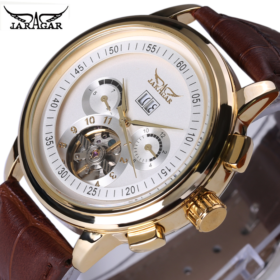 2017 JARAGAR Men Automatic Watch Mechanical Watch Genuine Leather Strap Men's Wristwatches Luxury Brand Gold Design Watches sewor toubillon mechanical watch men gold genuine leather strap luxury automatic watches men clock male monphase wristwatches