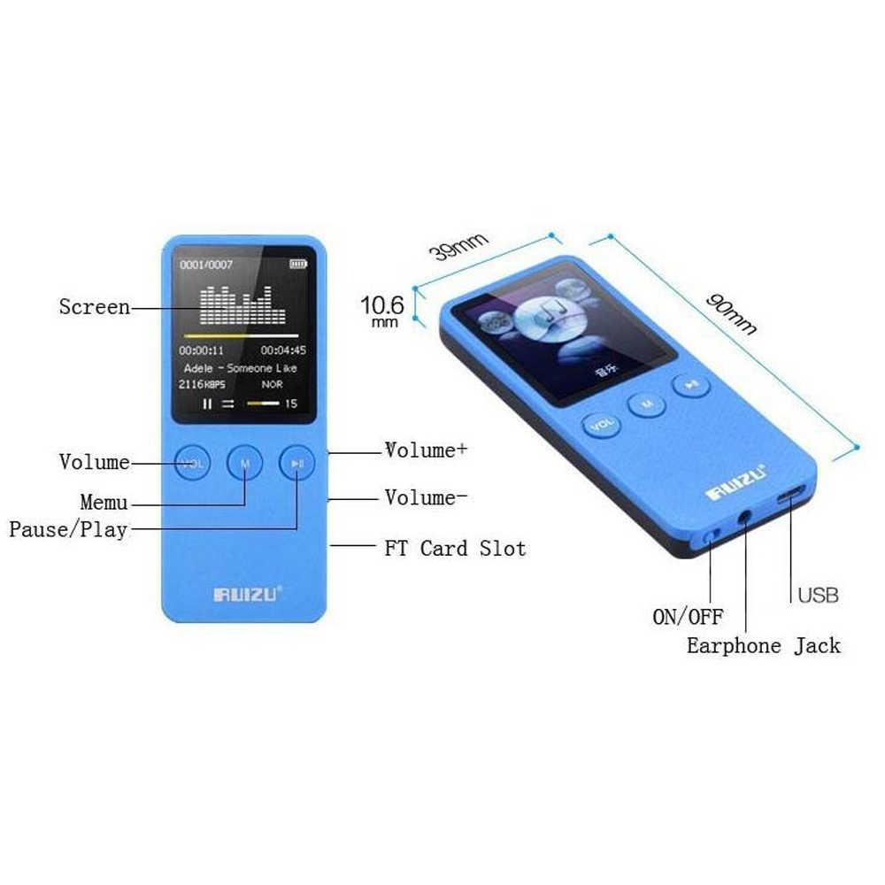 Ruizu X08 Flac без потерь Hifi Цифровой аудио Экран Mp 3 музыка Mp3 плеер 8 GB с наушников радио динамик FM Поддержка TF Micro SD