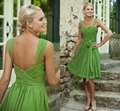 2015 selling Cheap Chiffon Bridesmaid Short Dresses Knee Length  Green  Maid of Honor  Formal Bridesmaids Gowns Plus Size