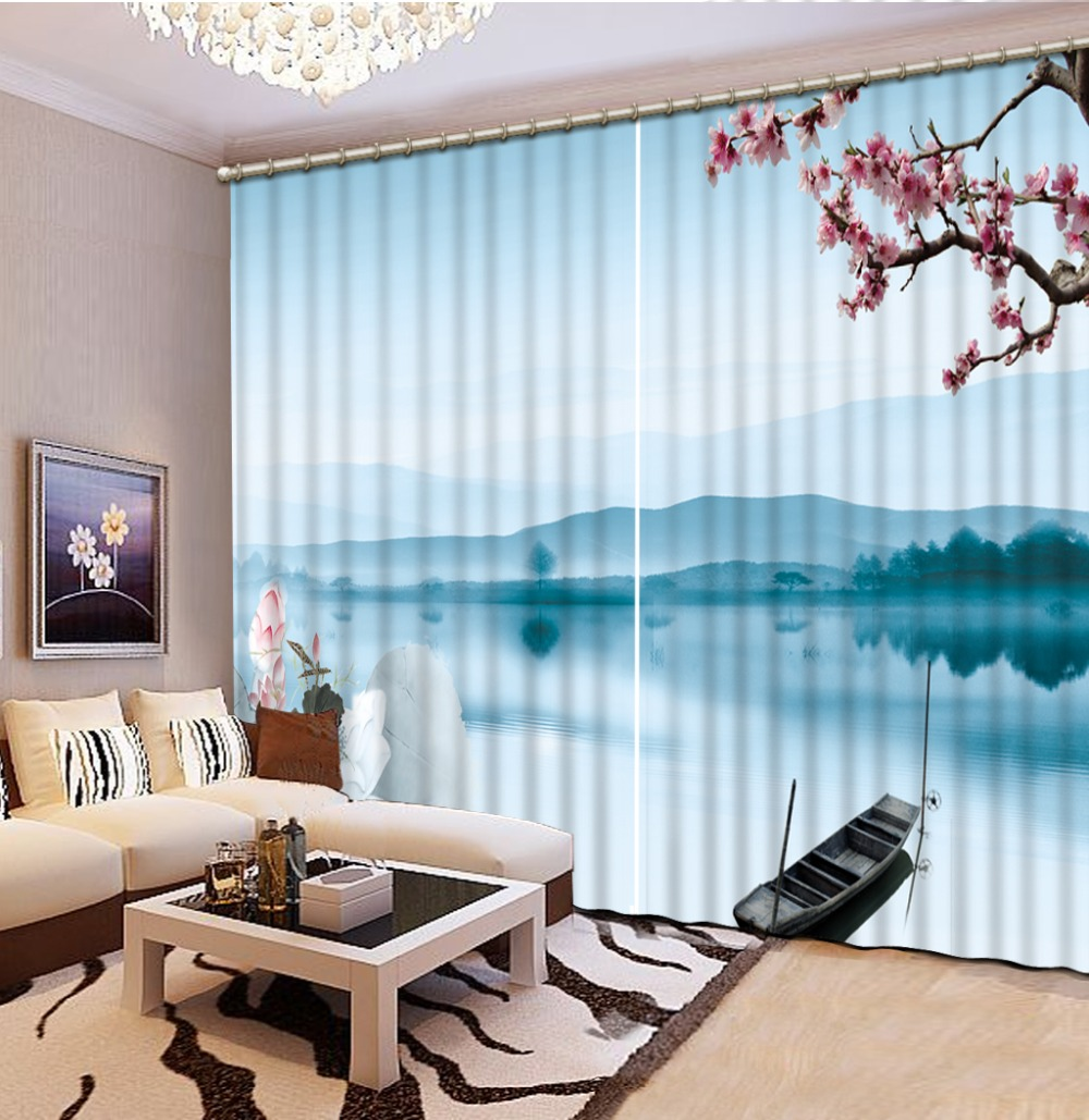 Us 57 54 58 Off Blue Curtains 3d Window Curtain Foggy Forest Luxury Blackout Living Room Office In Curtains From Home Garden On Aliexpress