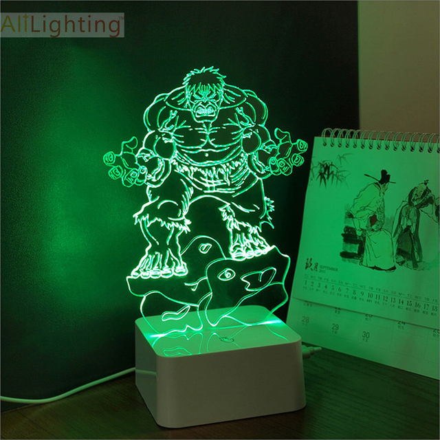 Free Shipping Marvel Super Hero The Incredible Hulk 3D Night Light Bedroom  Deco Table Lamp Baby