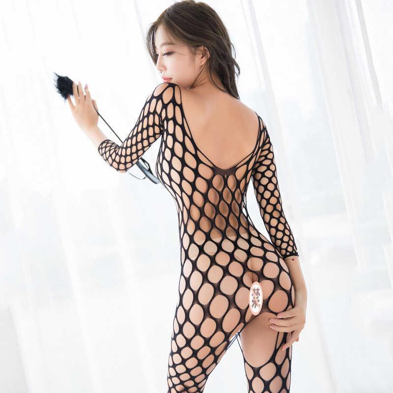 Sexy Open Kruis Fetish Bodystocking Vrouwen Erotische Lingerie Porno Babydoll Crotchless Body Pak Ondergoed Kostuums Latex Catsuit
