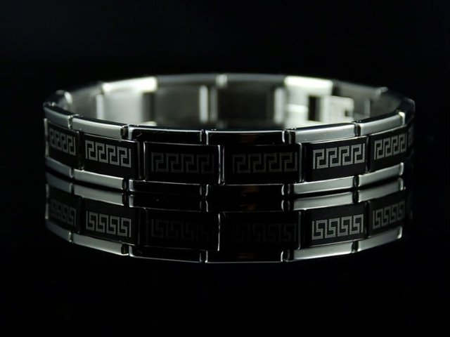 Free shipping&wholesale Christmas gift b380 Cool Black & SIlver Greek Key Design Bracelet