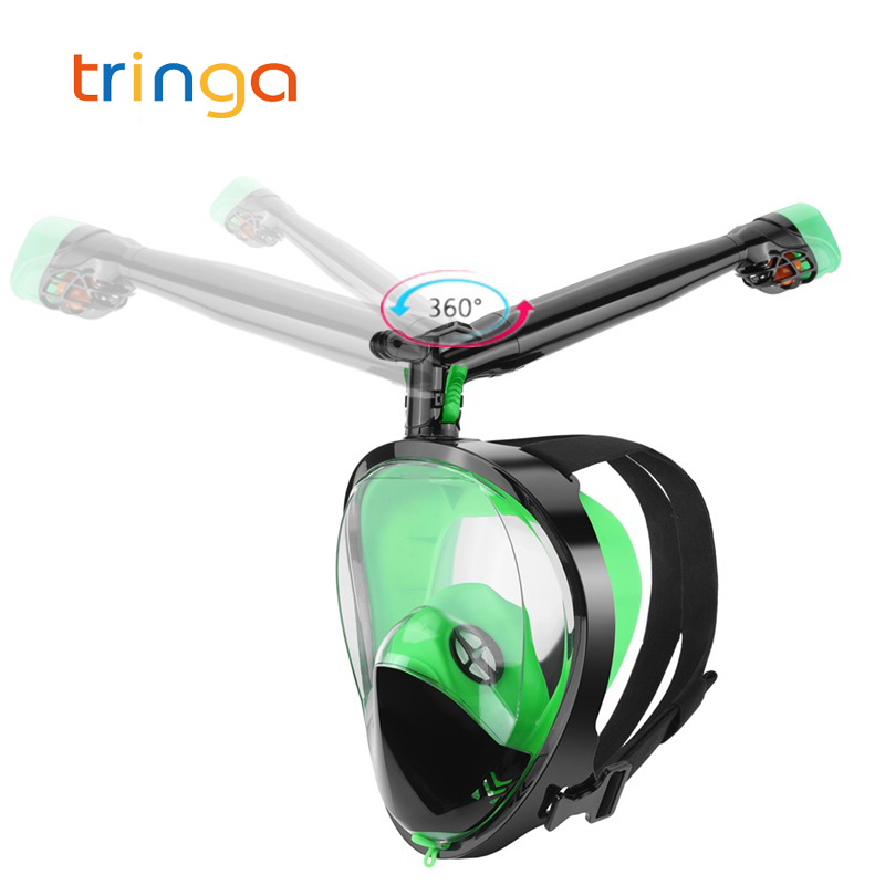 Adult Beginner Scuba Diving Mask Full Face Anti Fog 360 Degree Rotatable Snorkel Mask Set Swimming Mask For Gopro Camera