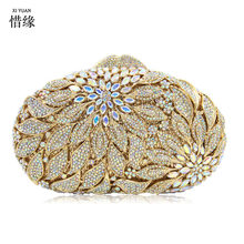 XIYUAN BRAND silver evening bags Luxury crystal Clutch bag gold rhinestone party purse Female pochette women wedding Day cluthes(China)