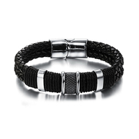 2017 New Fashion Handmade Genuine Leather Weaved Double Layer Man Bracelets Casual Sporty Delicate Cool Men