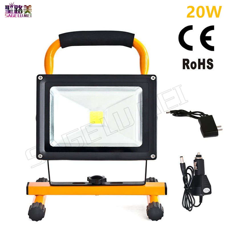 1pcs 20w waterproof outdoor led flood lighting rechargeable Led emergency lamp Portable Spotlight battery powered led spot lamp ultrathin led flood light 200w ac85 265v waterproof ip65 floodlight spotlight outdoor lighting free shipping