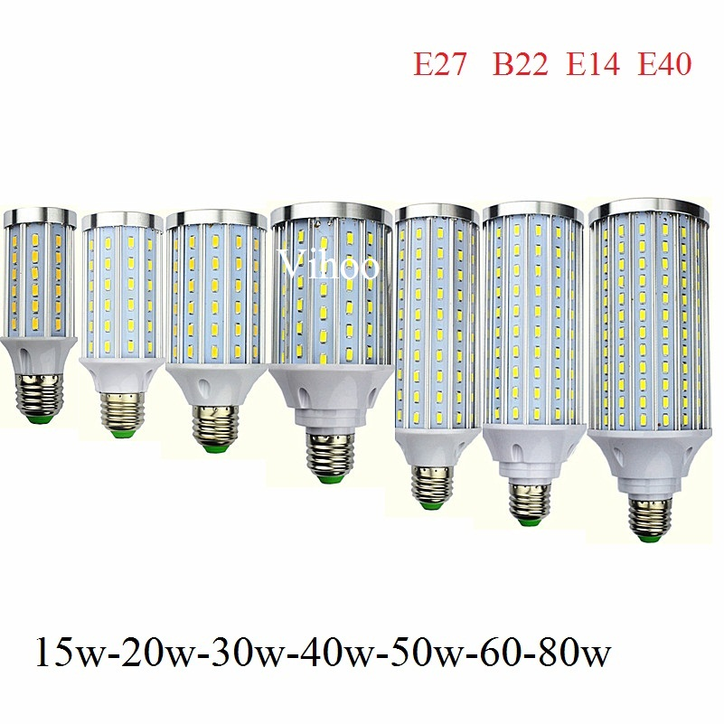 Lampada 12W 15W 20W 30W 40W 50W 60W 80W E27 E14 E40 B22 LED Lamp Corn Light 110V Or 220V Aluminum Cooling High Power Bulb 1Pcs
